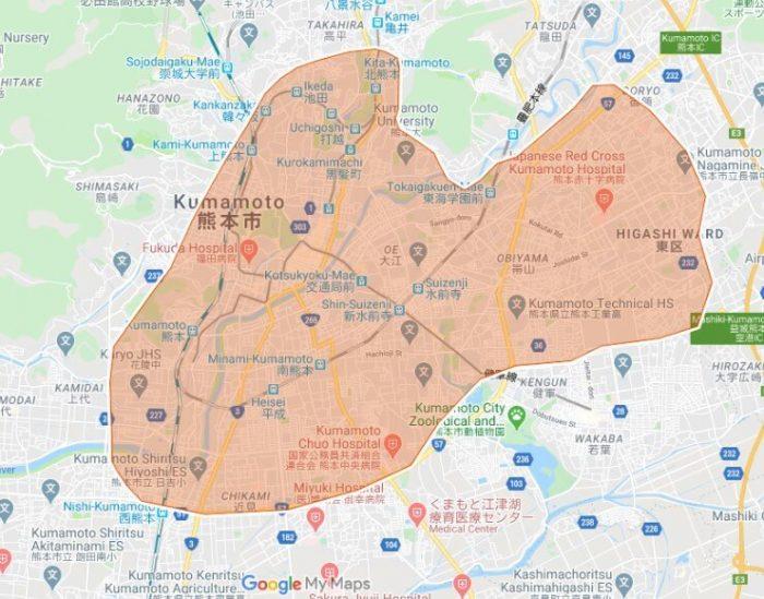 UberEats熊本対応エリア