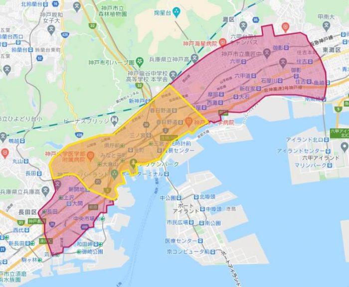 Foodpanda兵庫県神戸市の配達対応エリア(201010)