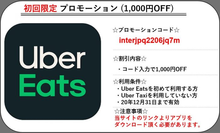 Uber Eats初回限定クーポン