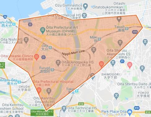UberEats大分エリアmap