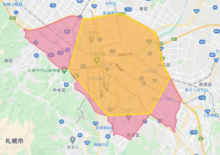 Foodpanda北海道札幌市の配達エリア(201010)