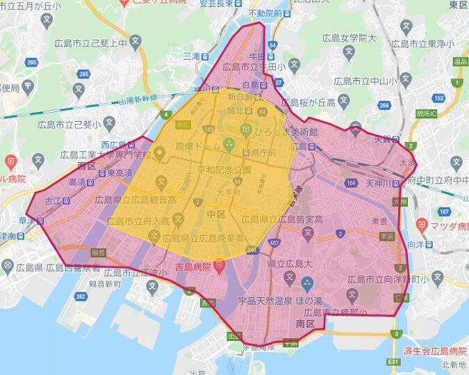 Foodpanda広島県広島市の配達対応エリア(201010)