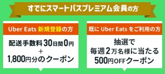 auスマートパスプレミアム既存会員(Uber Eatsクーポン)