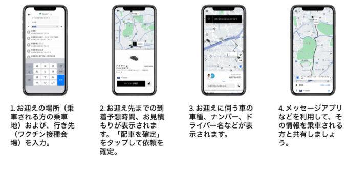 Uber Taxiワクチン接種配車