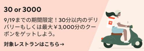 ドアダッシュ30分or3000円クーポン