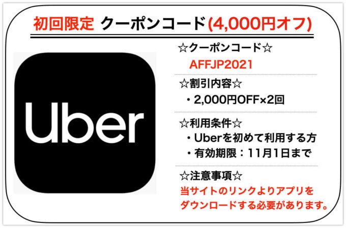 ウーバータクシー4000円クーポン