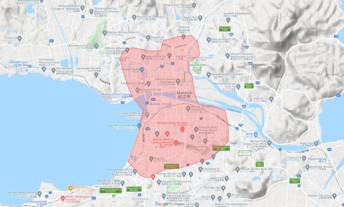 Uber Eats(ウーバーイーツ)島根県松江市配達エリア【210928】