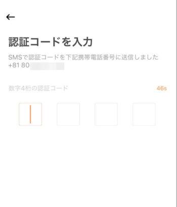 DiDiタクシー認証コード入力画面